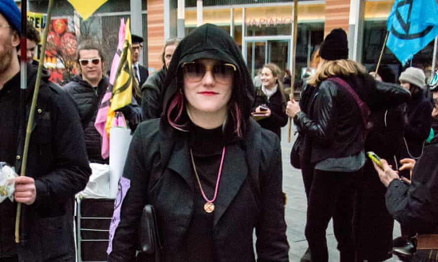 Clare Farrell at an Extinction Rebellion climate change protest, central London, last Sunday.