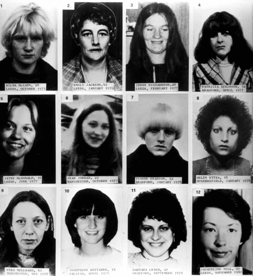 Twelve victims of Peter Sutcliffe, who were killed between October 1975 and November 1980