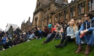 Eclipse watchers in Glasgow