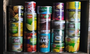 An assortment of canned foods.