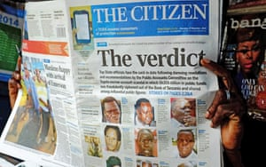 The Citizen newspaper in Dar Es Salaam, 27 November 2014, reporting that Tanzania's Public Accounts Committee recommends that the prime minister and several other top officials resign over alleged fraudulent payments.