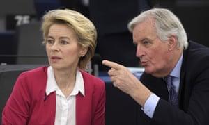 Ursula von der Leyen with the EU's chief Brexit negotiator Michel Barnier in Strasbourg