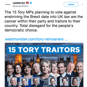 'The cancer within their party and traitors to their country' – a recent tweet from Leave EU
