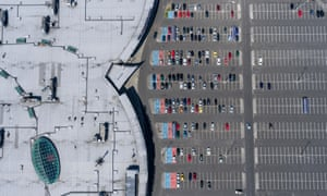 Parking atop a supermarket roof in Budapest, Hungary.