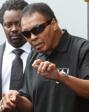 Muhammad Ali, during a visit to Ricky Hatton's gym in Hyde, Manchester, in 2009