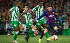 Lionel Messi scores the second goal of his hat-trick against Real Betis this month.