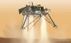 An artist's impression of Nasa's InSight probe about to land on the surface of Mars.