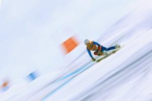 Iceland's Freydis Halla Einarsdottir competes in the women's giant slalom.