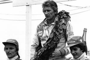 Jean-Pierre Jabouille Gilles Villeneuve and René Arnoux on the podium