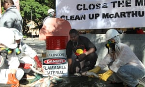 Representatives of the Northern Territory's Indigenous Borroloola clan groups demand Glencore close and clean up its McArthur River site in 2016.