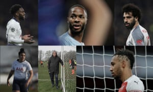 Clockwise from top left: Danny Rose, Raheem Sterling, Mohamed Salah, Pierre-Emerick Aubameyang, Dr Colin King and Renée Hector. Photographs by Tom Jenkins/The Guardian, Getty Images, Reuters and Richard Saker/The Observer. Composite by Jim Powell