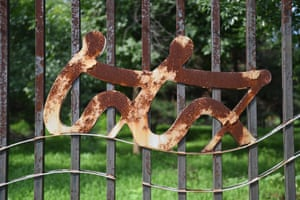 A rusted logo