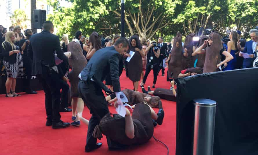 Protesters dressed as sausages to highlight the male domination of the film and television industries at the Aacta awards on Wednesday afternoon.