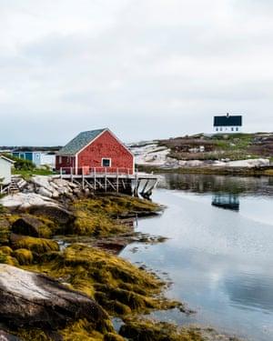 Houses line Peggy's Cove in Nova Scotia.