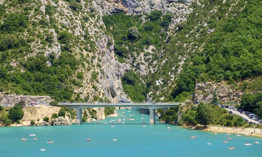 Bridge over Lac de Sainte-Croix at the entrance of the Gorges du Verdon.