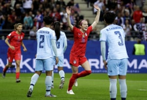 Rose Lavelle celebrates after scoring her second, and the United States' seventh goal.