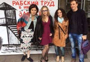 Alexey Knedlyakovsky and Lusine Djanyan (second right) with Pussy Riot's Nadya Tolokonnikova (left) and Masha Alyokhina