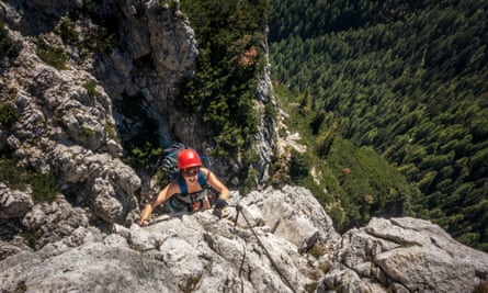 Hanging tough … a climber on a steep section of the Ettore Bovero, Italy.
