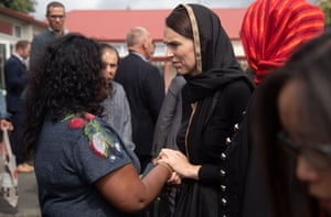 r Jacinda Ardern speaks to a woman during a visit to the Canterbury Refugee Centre in Christchurch.