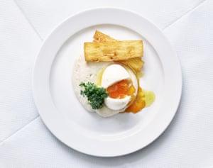 Smoked cod's roe,egg and potato cake.