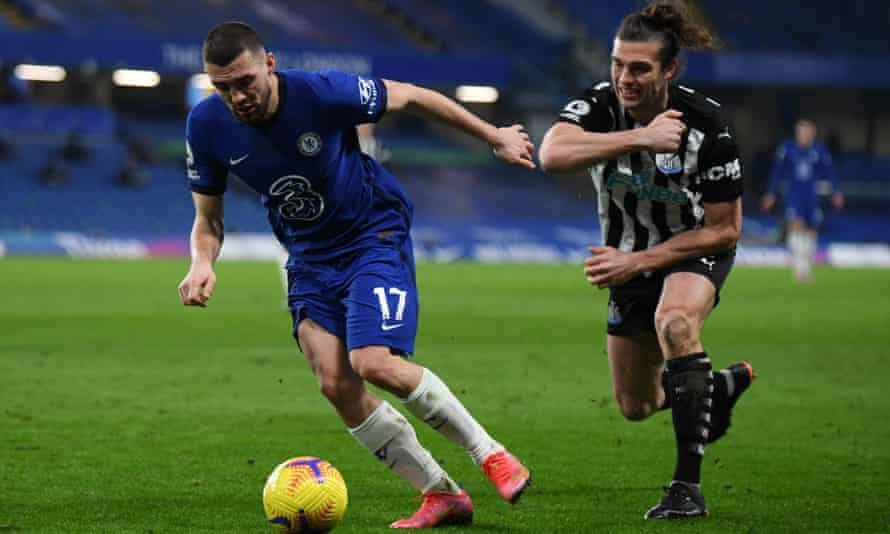 Mateo Kovacic escapes the attentions of Andy Carroll during Chelsea's win over Newcastle on Monday.