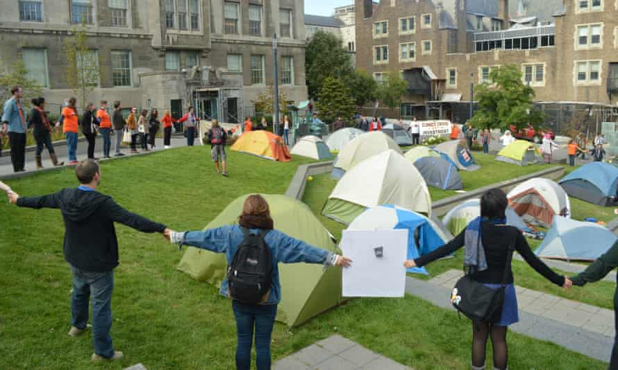 McGill students protest during a camp-out calling on the university administration to divest its holdings from fossil fuels in September, 2015.