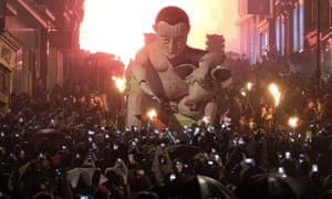 An effigy depicts David Cameron during the 2015 bonfire night celebrations in Lewes