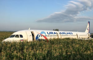 Moscow, Russia A Ural Airlines Airbus 321 passenger plane after making an emergency crash landing in a cornfield