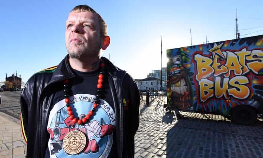 Steve Arnott outside the Beats Bus at Humber Dock, Hull.