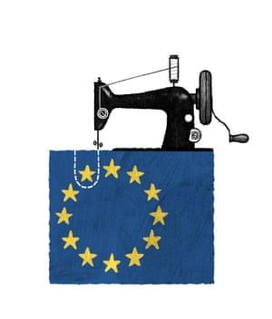 Illustration by David Foldvari of a sewing machine crafting an EU flag.