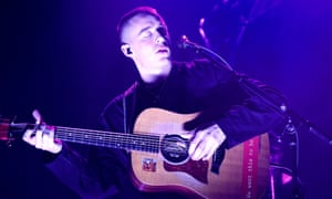 Hushed verses and booming choruses … Dermot Kennedy at Hammersmith Apollo.