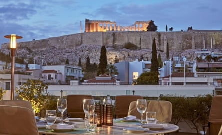 The Herodion hotel in Athens, with a view to the Parthenon