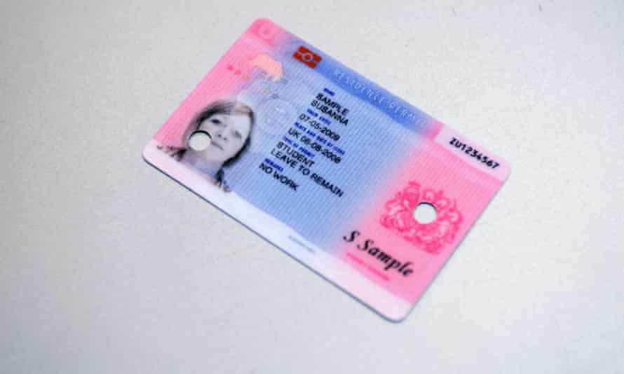 A sample British identity card at a news conference. The new biometric identity card is intended to fight illegal immigration and terrorism, but critics call it an expensive attack on civil liberties. September 25, 2008 Commissioned