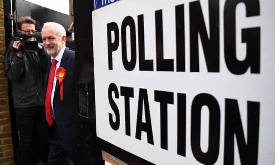Jeremy Corbyn leaving polling station