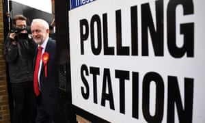 Jeremy Corbyn casts his vote in the general election