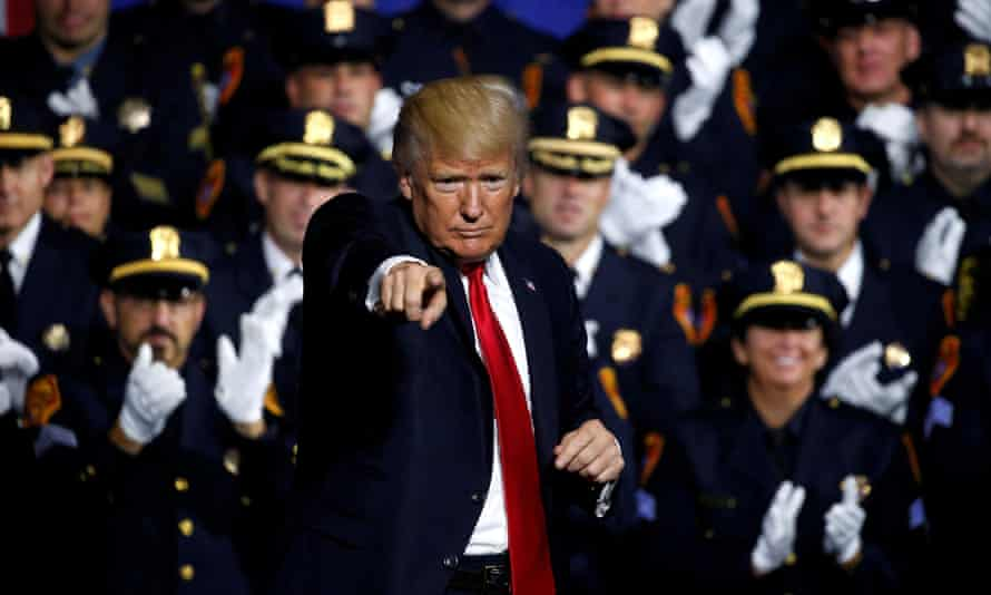 In July, Trump spoke about a US government crackdown on the gang MS-13 in Brentwood, New York.