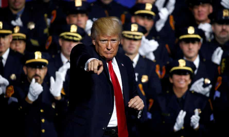 Donald Trump addresses law enforcement officials in Brentwood, New York. There has been 'an explosion of crazy, spread over the past seven days'.