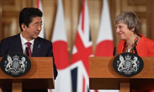 Theresa May and Japanese Prime Minister Shinzo Abe at their news conference.