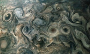 North polar region of Jupiter as photographed by the Juno probe.
