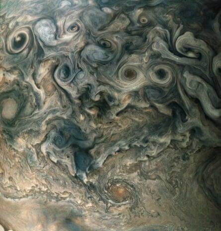 An image of the North polar region of Jupiter.