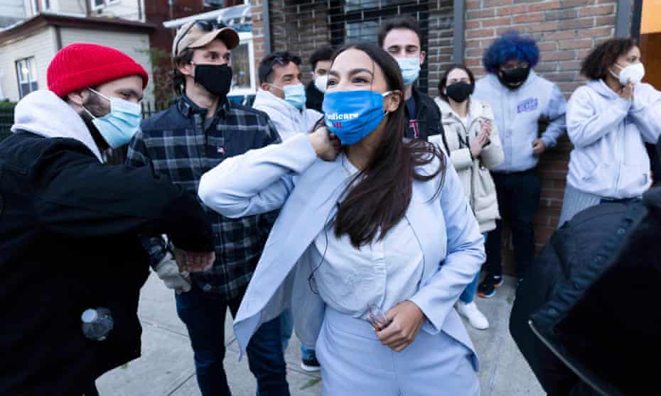 Alexandria Ocasio-Cortez with her campaign team in the Bronx on election day. Progressives accused moderates of failing to capture the imagination of the voters.