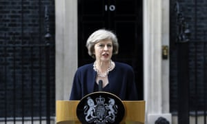 Theresa May speaks to the media outside No 10 Downing Street in July