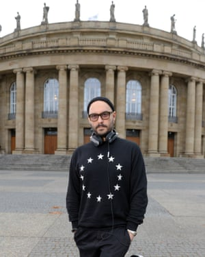 Serebrennikov in front of the opera house in Stuttgart, Germany, in 2015, where he was directing Salome.