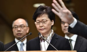 Hong Kong Chief Executive Carrie Lam attends a press conference in Hong Kong, her first public appearance in weeks.