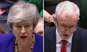 Theresa May and Jeremy Corbyn at prime minister's questions.