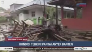 An image from a video showing debris in Serang city, in Banten province, Indonesia.