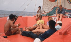 'A floating Love Island' … the Acali raft, which sailed the Atlantic in 1973 in a social experiment devised by anthropologist Santiago Genovés (centre, in yellow).