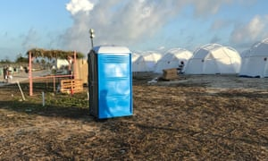 A portable toilet at Fyre festival.