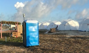 Wish you were here? Tents and a portable toilet set up for the Fyre Festival.