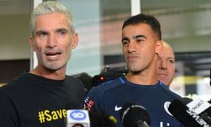 Former Socceroo Craig Foster with footballer Hakeem al-Araibi at Melbourne Airport.